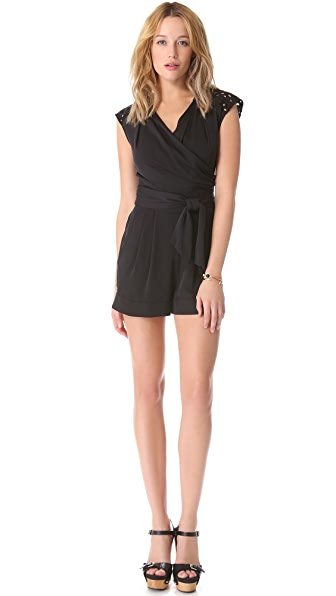 Catherine Malandrino Silk Romper with Eyelet Shoulders