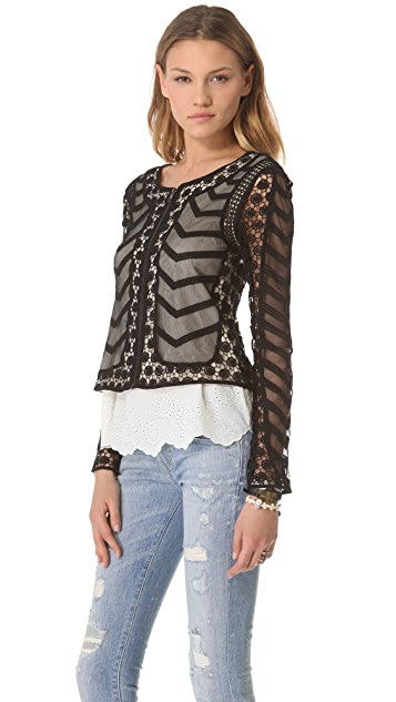 Catherine Malandrino Zip Up Lace Jacket