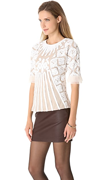 Catherine Malandrino Addi Embroidered Blouse