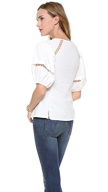 Catherine Malandrino Connie Exaggerated Sleeve Peasant Top