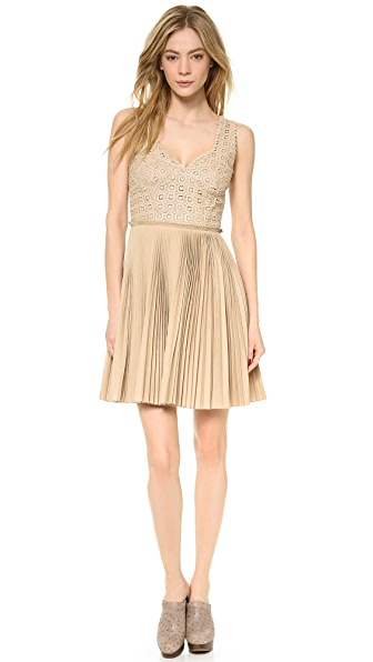 Catherine Malandrino Pleated Lace Detail Dress
