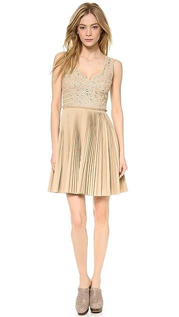 Catherine Malandrino Pleated Lace Detail Dress