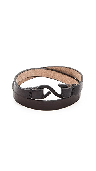 Cause and Effect Leather Double Wrap Cuff