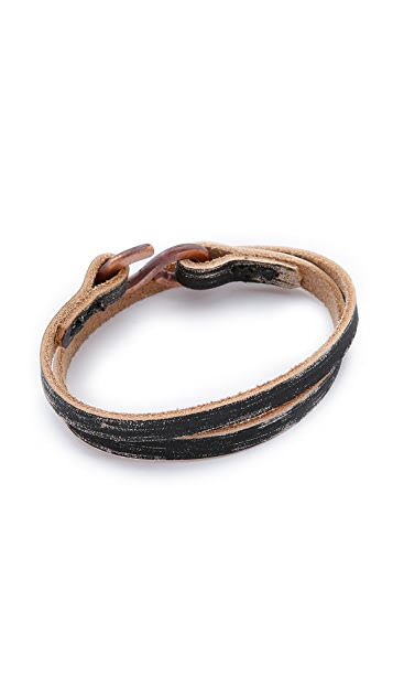 Cause and Effect Brushed Leather Wrap Bracelet