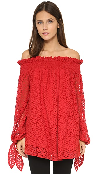 Caroline Constas Lou Lace Off the Shoulder Top