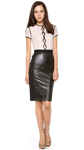 Catherine Deane Salina Leather & Lace Dress