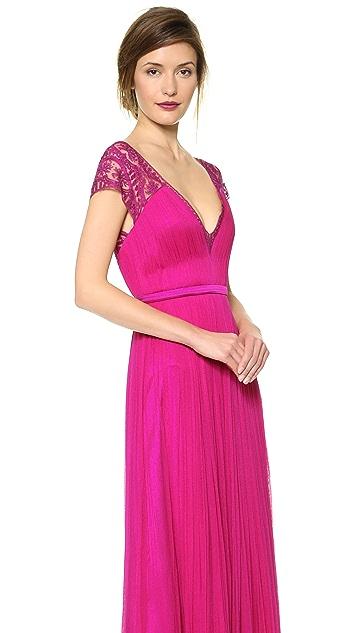Catherine Deane Vitalia Open Back Cap Sleeve Gown