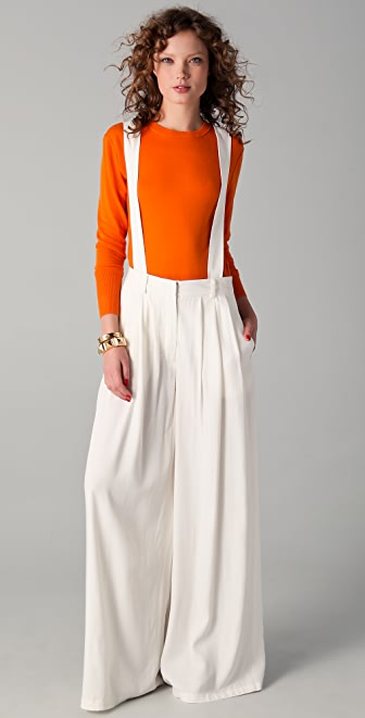 Derek Lam 10 Crosby Pleated Trousers with Suspenders