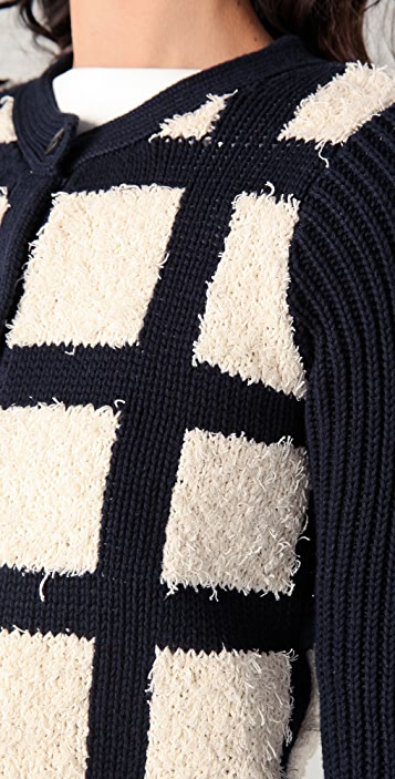 Derek Lam 10 Crosby Checkered Front Cardigan