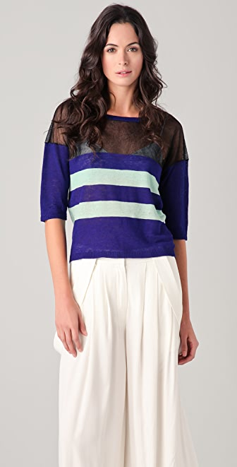 Derek Lam 10 Crosby Short Sleeve Striped Sweater