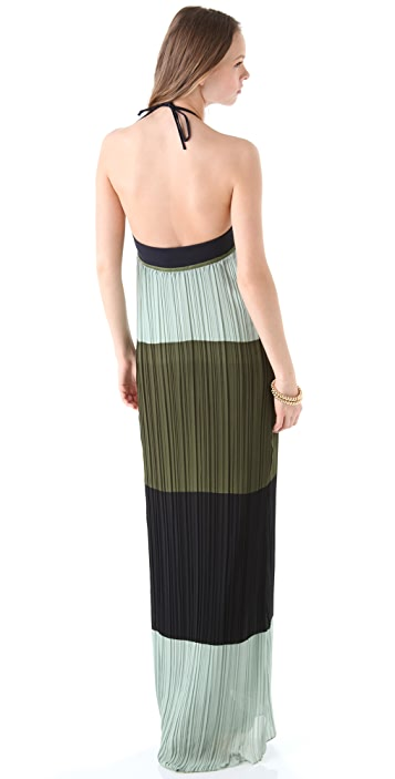 Derek Lam 10 Crosby Colorblock Halter Maxi Dress