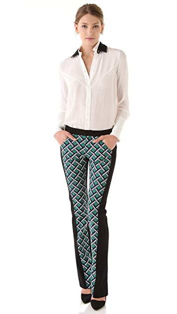 Derek Lam 10 Crosby Seamed Lattice Print Pants