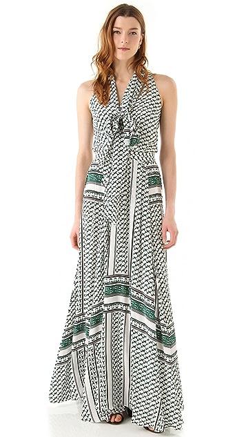 Derek Lam 10 Crosby Scarf Print Maxi Dress with Neck Tie