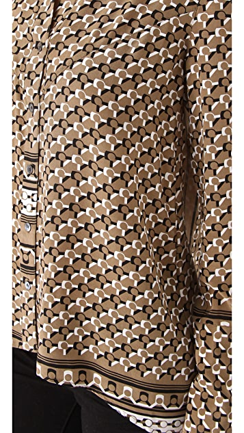 Derek Lam 10 Crosby Scarf Print Shirttail Blouse