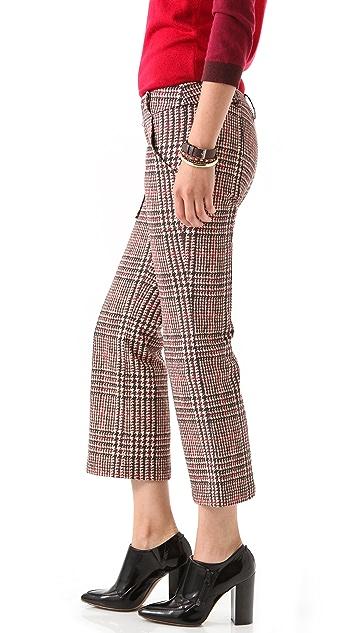 Derek Lam 10 Crosby Houndstooth Cropped Flare Pants