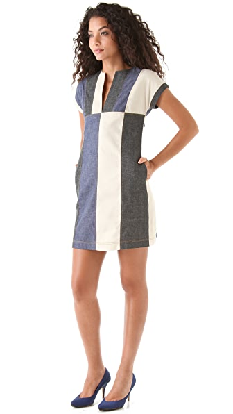 Derek Lam 10 Crosby Western Denim Colorblock Dress