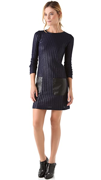 Derek Lam 10 Crosby Knit Dress with Faux Leather Trim
