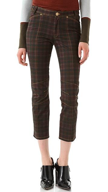 Derek Lam 10 Crosby Sanded Plaid Pants