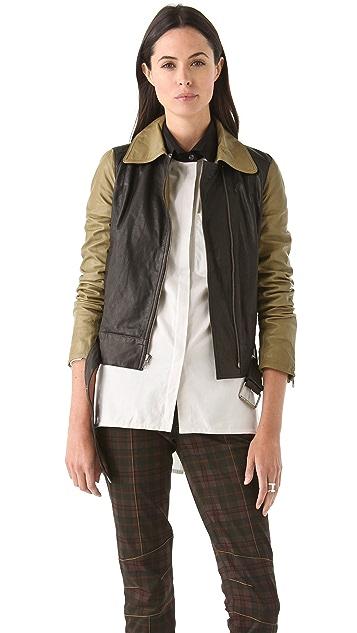 Derek Lam 10 Crosby Combo Leather Jacket