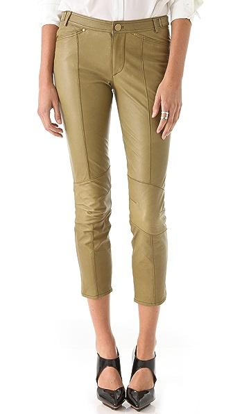 Derek Lam 10 Crosby Cropped Slim Leather Pants