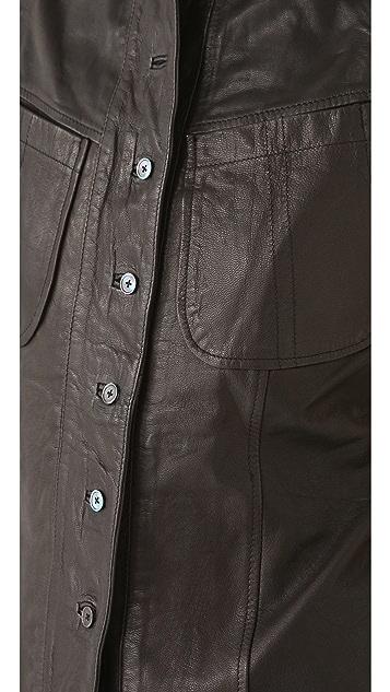 Derek Lam 10 Crosby Leather Button Down Vest