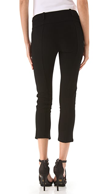 Derek Lam 10 Crosby Wool Pants with Leather Panel