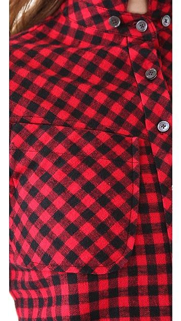 Derek Lam 10 Crosby Double Collar Flannel Shirt