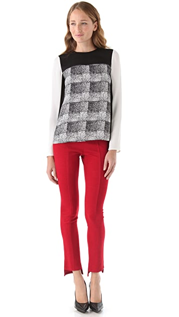 Derek Lam 10 Crosby Silk Check Blouse