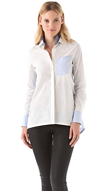 Derek Lam 10 Crosby Double Collar Combo Shirt