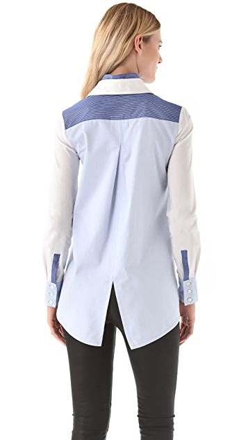Derek Lam 10 Crosby Double Collar Combo Shirt