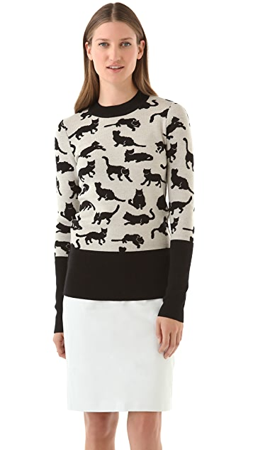 Derek Lam 10 Crosby Kitty Print Sweater