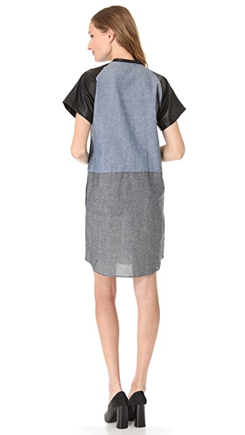 Derek Lam 10 Crosby Oversized V Neck Dress with Leather