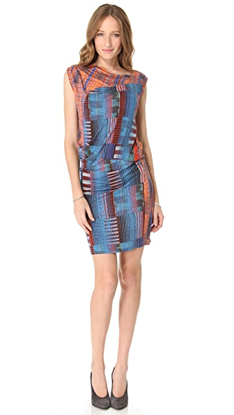 Derek Lam 10 Crosby Draped Madras Tee Dress