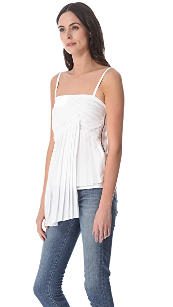 Derek Lam 10 Crosby Poplin Pleated Tank