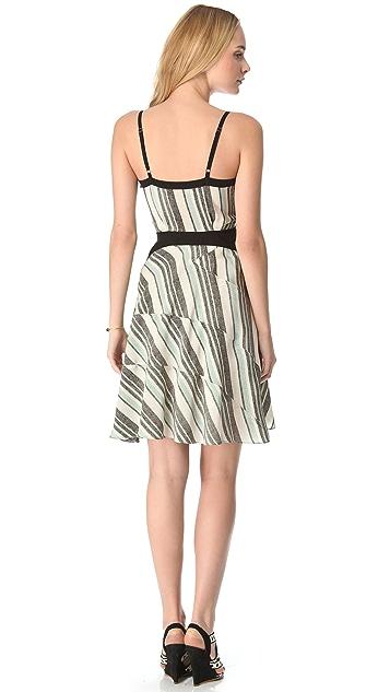 Derek Lam 10 Crosby Tone Stripe Surplice Dress