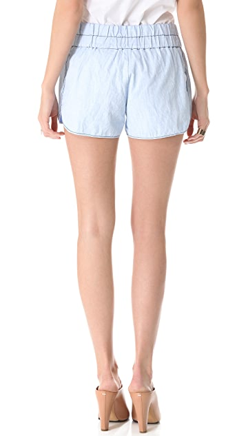Derek Lam 10 Crosby Chambray Boxer Shorts