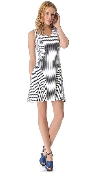 Derek Lam 10 Crosby V Neck Tulip Pinstripe Dress