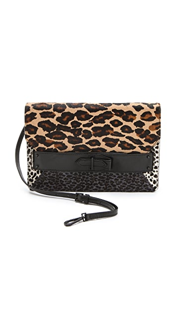 Derek Lam 10 Crosby Leopard Folio Haircalf Clutch