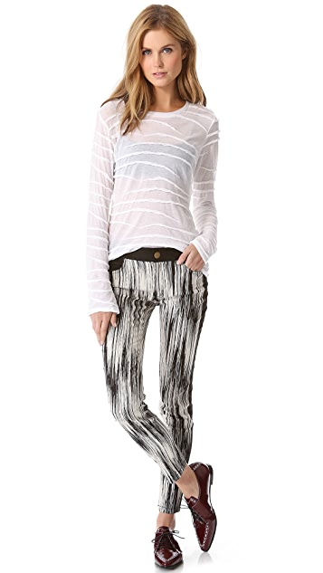 Derek Lam 10 Crosby Slim Tuxedo Stripe Pants