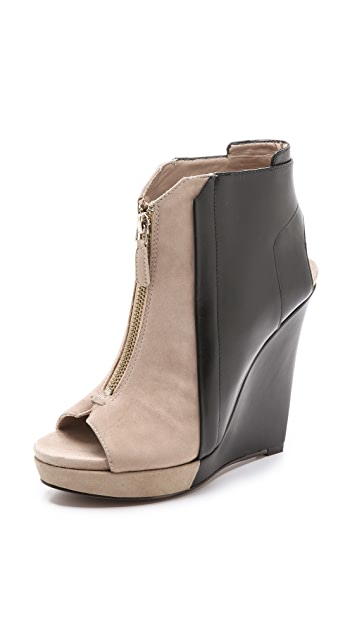 Derek Lam 10 Crosby Gen Bicolor Wedge Booties
