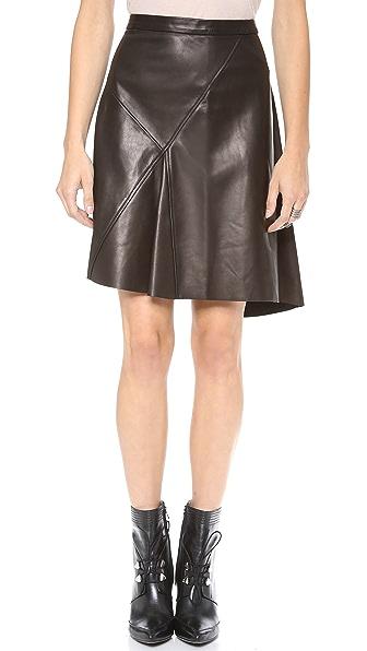 Derek Lam 10 Crosby Asymmetrical Leather Skirt