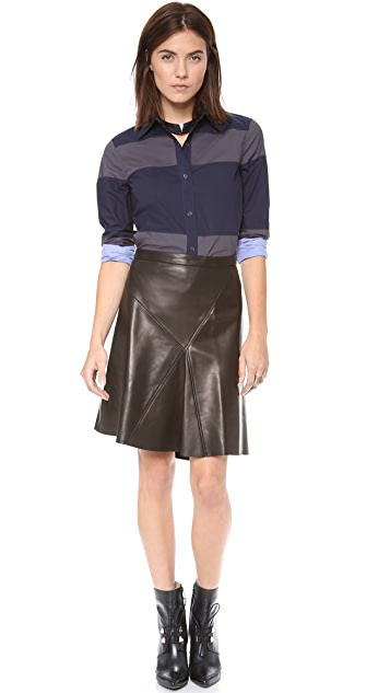 Derek Lam 10 Crosby Asymmetrical Leather Skirt