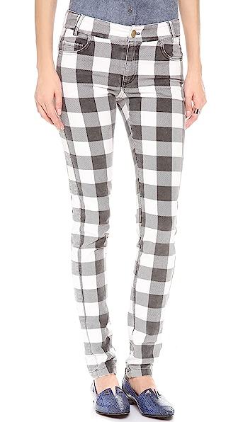 Derek Lam 10 Crosby Slim Plaid Velvet Pants