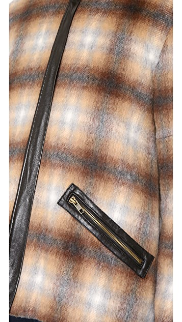 Derek Lam 10 Crosby Plaid Jacket with Back Tail