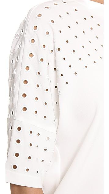 Derek Lam 10 Crosby Short Sleeve Grommet Top