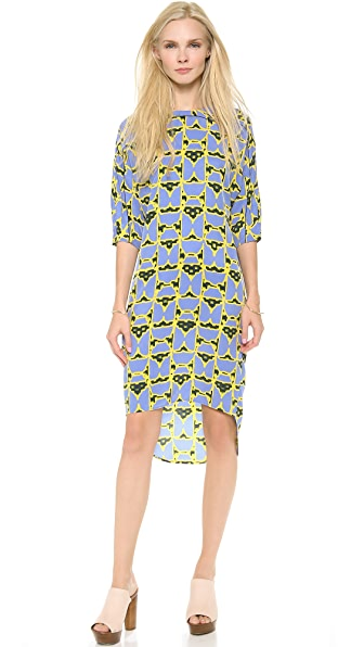 Derek Lam 10 Crosby 3/4 Sleeve Dome Print Dress