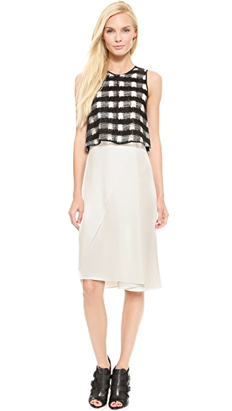 Derek Lam 10 Crosby Plaid Layered Dress