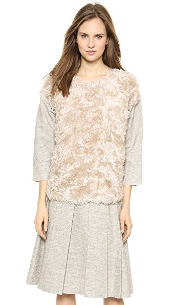 Derek Lam 10 Crosby Shirt with Faux Fur