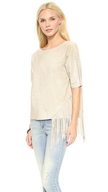 Derek Lam 10 Crosby Leather Top with Fringe