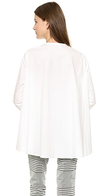 Derek Lam 10 Crosby Henley Top with Draped Back